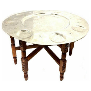 "Traditional Silver Table Tray Folding Table 31"" Diameter"