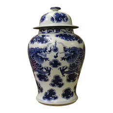 Chinese Blue and White Porcelain Double Dragon Temple General Jar cs2673