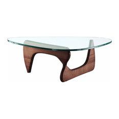 Triangle Coffee Table Modern Glass Top With Wood Base, Walnut Wood