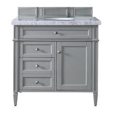 "Brittany 36"" Urban Gray Single Vanity w/ 2cm Carrara White Marble Top"