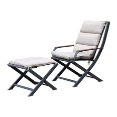 Amber Folding Lounge Chair with Cushion and Footstool, Anthracite and Beige