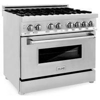 ZLINE Range with Gas Stove and Electric Oven in Stainless Steel, 36""