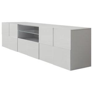 Diana TV Unit, LED Lights, 181 cm, White Gloss