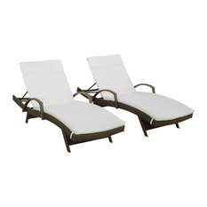 GDF Studio Olivia Outdoor Chaise Lounge Chairs, Off-White Cushions, Set of 2