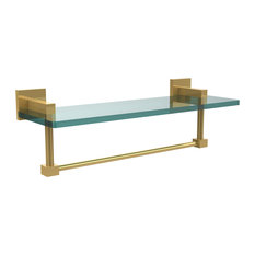 """Montero Collection 16"""" Glass Vanity Shelf With Integrated Towel Bar"""