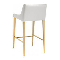 ARTEFAC - Gold Legs Leather Stool, Almond Cream, Counter Seat - Bar Stools and Counter Stools