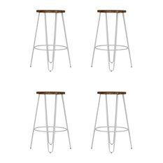 Hairpin Metal Leg Kitchen Stool, Dark Wood, Dove Grey, Small, Set of 4