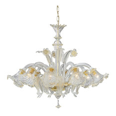 Ideal Lux Rialto Metal 8-Light Chandelier, Gold/Amber Glass