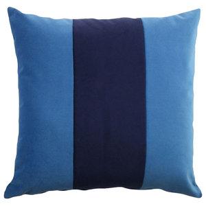 Large Striped Cushion, Light Blue and Azure Blue