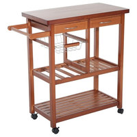 Contemporary Cart Kitchen Trolley With 2-Drawer and 1 Open Shelves