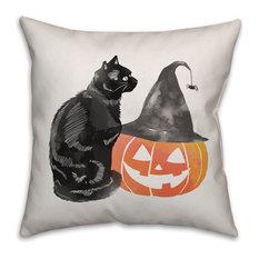 """Halloween Cat And Pumpkin 16""""x16"""" Indoor/Outdoor Pillow"""