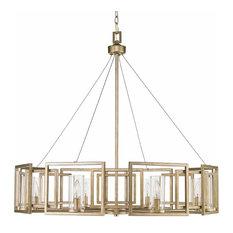 Golden 8-Light Chandelier, White Gold