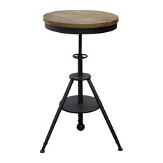 Adjustable Height Bistro Table With Weathered Gray Top And Powder Coat Iron Base