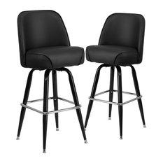 Metal Barstools With Swivel Bucket Seat Set Of 2