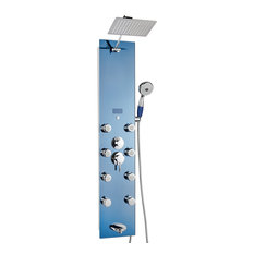 "52"" Golden Vantage Tempered Glass Multi-Function Shower Panel System, Blue"