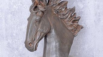 Бюст головы коня из Версальского парка, реплика, стекловолокно, патинирование