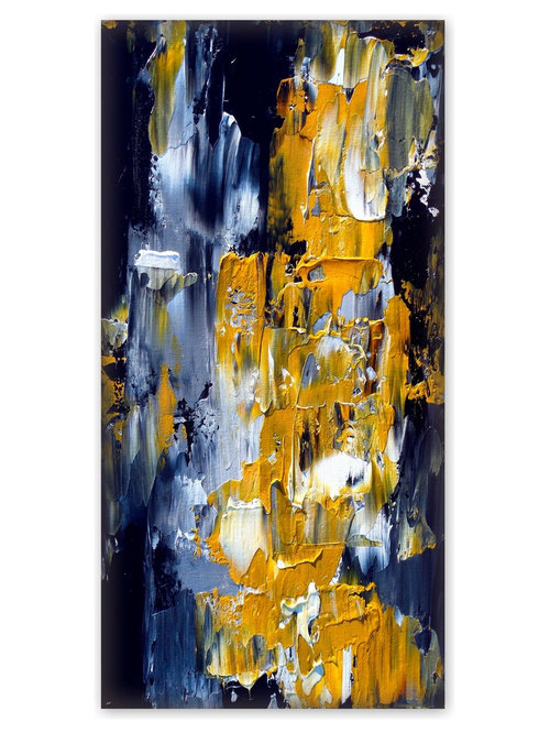 Yellow And Gray Abstract Painting, Vertical Wall Art ELYSIAN FALLS    Paintings