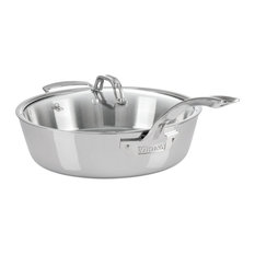 Viking Contemporary Saute Pan, Mirror Finish, Brushed Stainless, 4.8 Qt.