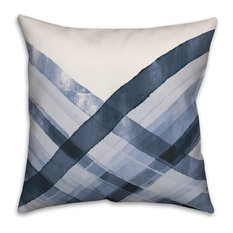Abstract Blue Waves 18x18 Throw Pillow