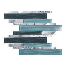 """11.75""""x12.25"""" Wren Mixed Mosaic Tile Sheet, Blue"""