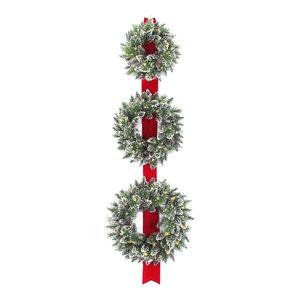 "77"" Glittery Bristle Triple Wreath Door Hang, Warm White LED Lights"