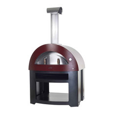 """Allegro 39"""" Wood Fired Pizza Oven on Base, Antique Red"""