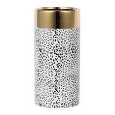 "Matte Black and Gold Ceramic Vase D5.5x12"""