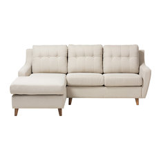 Baxton Studio - Mckenzie Light Beige Fabric Button-Tufted 2-Piece Sectional Sofa - Sectional Sofas