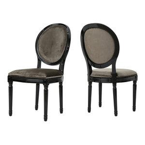 GDF Studio Camilla New Velvet Dining Chairs, Gray/Gloss Black, Set of 2