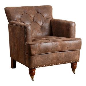 Abbyson Living Tafton Fabric Club Chair, Antique Brown