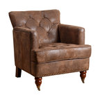 Turner Faux Leather Club Chair, Antique Brown
