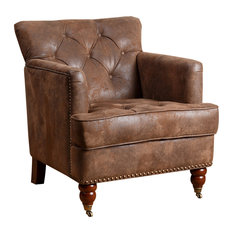 Raw - Turner Faux Leather Club Chair, Antique Brown - Armchairs and Accent Chairs