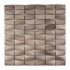 "11.75""x11.75"" Arrow 3D-Cut Mosaic Tile Sheet, Dark Beige Stone"