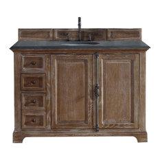 "Providence 48"" Single Vanity Cabinet, Driftwood, 2CM Black Rustic Stone Top"