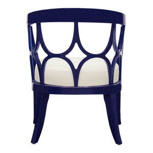 Worlds Away Campbell Lacquer Chair , Navy