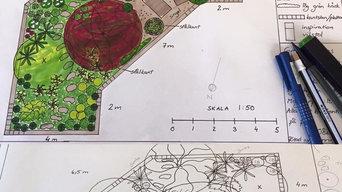 Trädgårdsritning del av tomt, relax i halvskugga