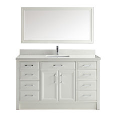 Art Bathe Calais 60'' Vanity Set, White and Solid Surface Marble