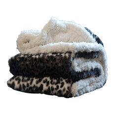 Animal Print Fleece Sherpa Blanket Throw, Cheetah