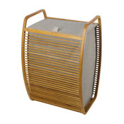 MV Bamboo With Canvas Gray Hamper Laundry Basket With Carry Handles and Lid