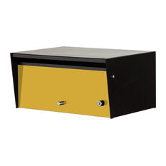 Metro Letterbox, Front Opening, with Lock, Yellow, Standard Post, Flag, Black Ca