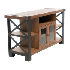 GDF Studio Breeden Natural Wood TV Console With Cabinets
