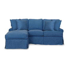 Horizon Slipcovered Sleeper Sofa With Chaise,  Indigo Blue