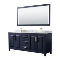 Daria 80-inch Double Bathroom Vanity In Dark Blue Carrara Marble Top Square Sinks