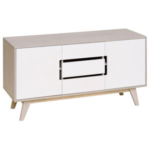 HUH Sideboard With Three Doors, Pebble Grey and White