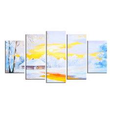 """Frozen River in Winter"" Landscape Canvas Print"