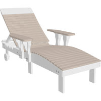 Reclining Chaise Lounge Chair, Premium Woodgrain Poly Lumber, Birch/White