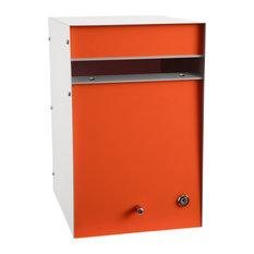 Designer Letterbox, Back Open, Orange, No Post, No Flag