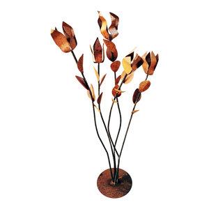 Steel Mini Raw Steel Nopal With Flower - Southwestern