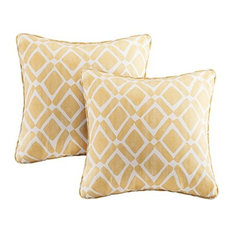 Madison Park Delray Diamond Printed Square Pillow Pair in Yellow MP30-1440