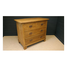 Late Victorian Solid Oak Low Chest of drawers